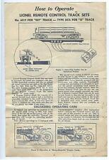 original 1954 Lionel Trains leaflet on How to Operate Remote Control Track sets