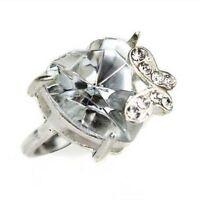 Tone argenté papillon sur taille diamant cœur en crystal bague