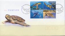 Cocos (Keeling) 2002 Turtles/Marine 4v blk FDC s1949