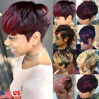 Womens Short  Wine Red Blone Ombre Wavy Wig Curly Synthetic Hair Full Head Wig