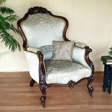 Antique Armchair, Victorian Carved Mahogany, French Style.