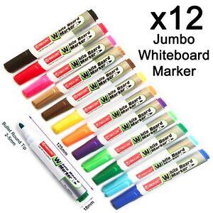 12 Large volume Hot mixed colours Whiteboard marker pen easy dry wipe bullet tip