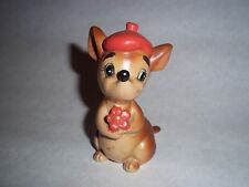 Vtg. Ceramic Single Salt-Pepper Shaker - Brown Mouse w/Orange Beret   #SP57