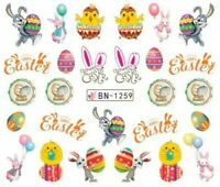 Nail Art Water Decals Stickers Transfers Easter Bunny Rabbit Chicks Party BN1259