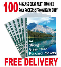 100 A4 GLASS CLEAR MULTI PUNCHED POLY POCKETS HEAVY DUTY STRONG 50 MICRON