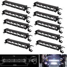 10pcs 7inch Slim LED Work Light Bar Single Row Spot Car 4X4 SUV UTE ATV Off road
