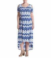 RELATIVITY Plus Size 3X Blue Print Cold Shoulder Hi-Low Maxi Dress NWT $74
