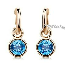 women earring 18K rose Gold GP blue dangle Crystal drop circle earring free ship