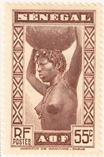 Senegal Ethnicities Colonial Nude Tribal Girl stamp 1938 MLH