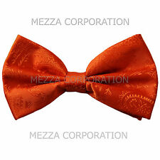 New formal men's pre tied Bow tie paisley pattern party wedding prom orange