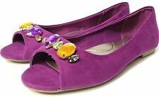 Avon Cushion Walk Purple Peep Toe Gem Stone Jeweled Flats Womens Size 9M NEW