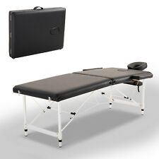 2 Section Massage Table Spa Facial Bed Adjustable Portable w/ Carry Case Black