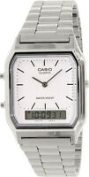 Casio AQ-230A-7D White Men's Stainless Steel Digital Analog Alarm Watch New