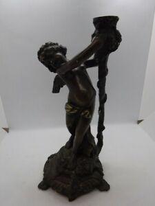 Vintage Bronze Cherub Candlestick Holder in a Baroque Style
