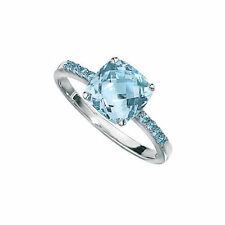 Hallmarked 9ct White Gold Sky Blue Topaz Ring with Blue Topaz in Shoulders