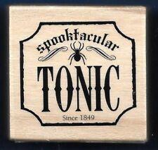 SPOOKTACULAR TONIC SPIDER BANNER Halloween Word NEW Craft Smart RUBBER STAMP