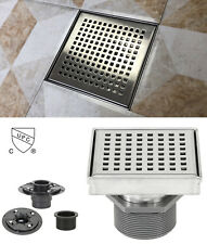 """4"""" Stainless Steel Shower Square Drain Square Pattern with Base Flange Bundle"""