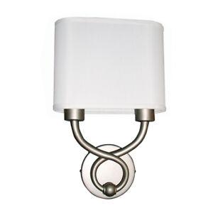 Hudson 2 Light LED Satin Nickel Wall Sconce in Double White Linen $177