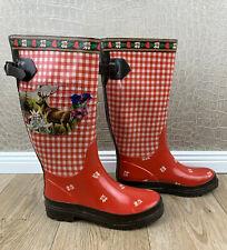Damen Gr. 37 süße Gummistiefel Rot Trachten Hirsch Alpen Bayern Landhaus #S2
