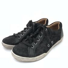 Comfortiva Align Lyons Sneakers Womens Size 8.5W Black Suede Foil Metallic Shoes