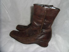 NEXT WOMEN BROWN LEATHER ZIPZIP UP ANKLE BOOT SIZE UK 4 EU 37 VGC