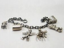 Vintage .800 Silver Charm Bracelet with 6 German Charms ~ 44 Grams