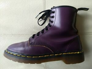 DOC DR. MARTENS PURPLE LEATHER BOOTS MADE IN ENGLAND RARE VINTAGE UNISEX 5UK