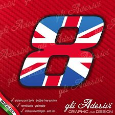 Adesivo Stickers NUMERO 8 moto auto cross gara UK United Kingdom Union Jack