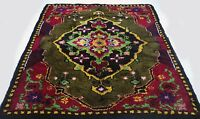 "Antique vintage Turkish handmade hand-knotted thick rug 62"" x 83"" pure wool  #12"