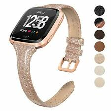 Swees Leather Bands Compatible Fitbit Versa, Genuine Leather Slim Thin Strap Rep