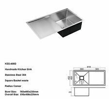 810MM Stainless Steel 304 Single Bowl with Drainer Kitchen Sink Square Hand Made