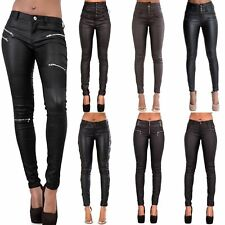 WOMEN LEATHER LOOK LEGGINGS BLACK WET TROUSERS SEXY JEANS SIZE 6 8 10 12 14 16