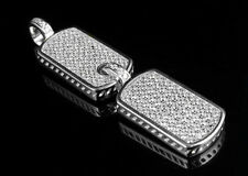 .925 Sterling Silver Men's Dog Tag Pendant White Gold Finish Lab Diamonds 1.8""
