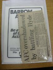10/12/1983 Barrow v Hyde United [With Newspaper Report On Game] . Any faults are