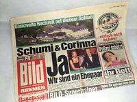 Bild Zeitung vom 01.08.1995 * Schumi & Corinna Hochzeit * Michael Schumacher