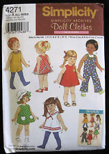 Simplicity Archives Girl Doll Clothes Sewing Pattern 4271 Uncut American 12 - 22