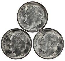 1951 P D S ROOSEVELT DIMES 10C GEM BU BRILLIANT UNCIRCULATED 3 COIN SET LOT