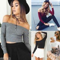 2016 Fashion Women Crop Top Off Shoulder Tight T Shirt Casual Long Sleeve Blouse