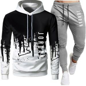 Jordan 23 Tracksuit Men's Sweatshirt Wool Hooded  Sweater Set Sweatpants Jogging