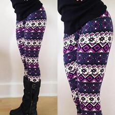Vogue Women Warm Winter Knit Snowflake Leggings Xmas Tight Fleece Stretch Pants