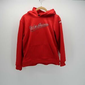 Under Armour Red Long Sleeve Loose Fit Kangaroo Pocket Hoodie Youth L