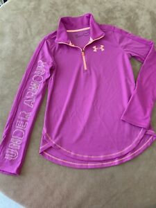 Under Armour YOUTH Size Large Long Sleeve Athletic Shirt Pink