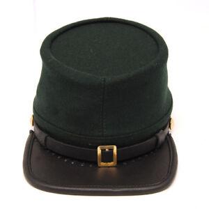 Civil War Union Green Leather Peak Berdans Sharpshooters Kepi, Plain Green Kepi