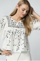Zara Trafaluc Boho Floral Embroidered Flowy Blouse Lightweight Top White Size M