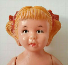 Antique, 3-Pc Celluloid Doll w. Strawberry Blonde Molded Pony-Tail Styled Hair