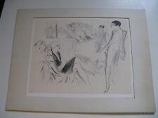 """LITHOGRAPHIE ORIGINALE """"CHEZ LE COIFFEUR"""" 1920-30 Signé MARCEL VERTES 100 EX."""