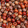 100pcs Mixed Large Hole Ethnic Pattern Stringing Wood Beads Fashion DIY Jewelry