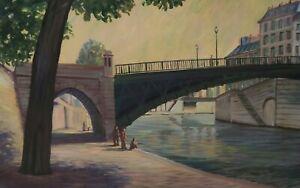 Painting Signed Riverside City Paris Brussels Tauzin