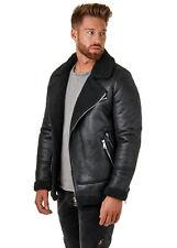 EightyFive EF510 Herren Shearling Jacket Kunstlederjacke Suede Fell Schwarz S-XL