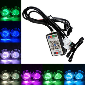 1Pair APP Control RGB 5050 LED Demon Eye Evil Eye Halo Ring Headlight DRL Lamp
